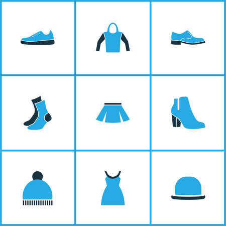 Clothes icons colored set with pompom, hoodie, heels and other skirt