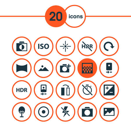 Picture icons set with hdr, smartphone, adjust and other no timer   elements. Isolated vector illustration picture icons. Illustration