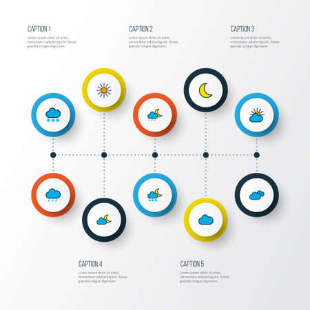 Weather icons colored line set with moonbeam, solar, clouded and other freeze  elements. Isolated vector illustration weather icons. 일러스트