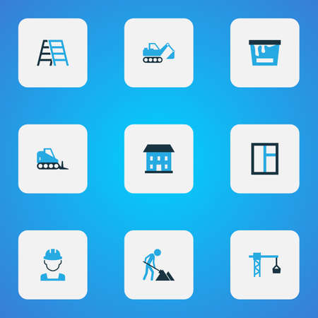 Construction icons colored set with construction worker, excavator, bulldozer and other lifting hook