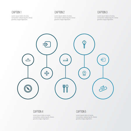 Navigation icons line style set with way out, smoke, pin and other exit  elements. Isolated vector illustration navigation icons. Illustration
