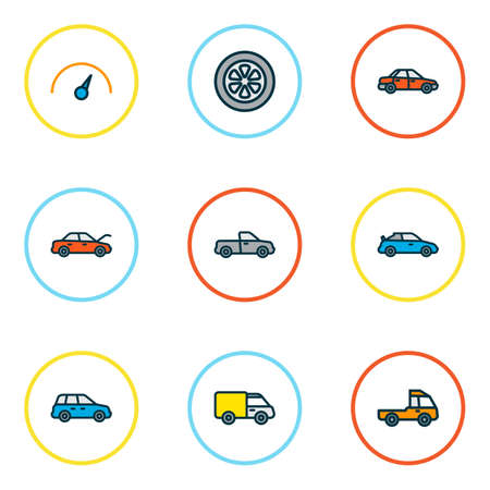 Car icons colored line set with crossover, hood, van and other car 
