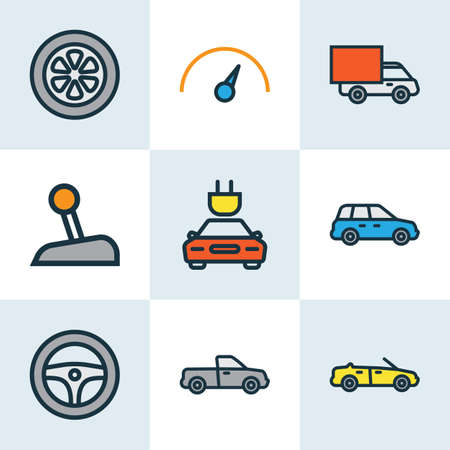 Automobile icons colored line set with speedometer, pickup, crossover and other electric elements. Isolated vector illustration automobile icons.