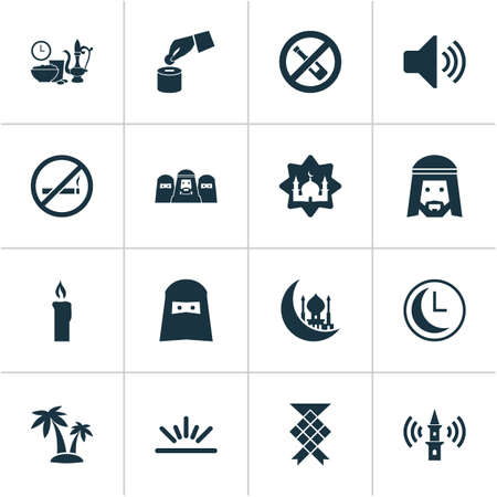 Religion icons set with clock, muslim, adhaan and other meal eaten  elements. Isolated vector illustration religion icons. Vettoriali