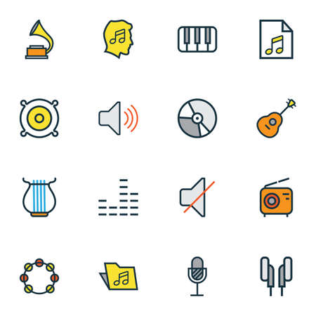 Multimedia icons colored line set with radio, timbrel, folder and other loudspeakers  elements. Isolated vector illustration multimedia icons. Illustration