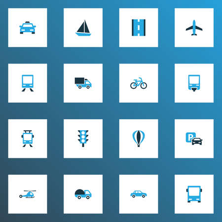 Transportation icons colored set with sign, road, streetcar and other stoplight  elements. Isolated vector illustration transportation icons.