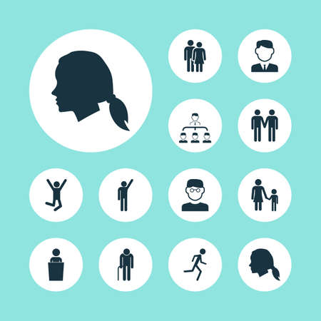 People icons set with pupil, speaker, subordination and other grandpa   elements. Isolated vector illustration people icons.