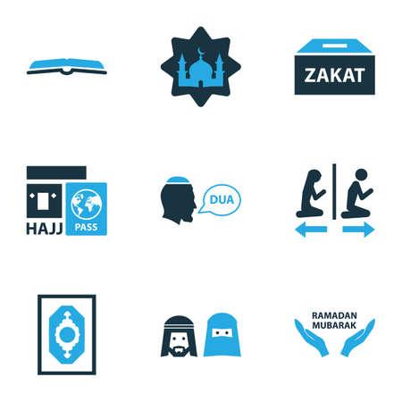 Religion icons colored set with beg, masjid, zakat and other ramadan mubarak elements. Isolated illustration religion icons. Stock Photo