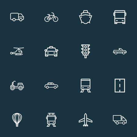 Shipment icons line style set with scooter, way, auto and other cargo elements. Isolated vector illustration shipment icons.
