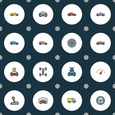 Automobile icons colored line set with gear, sport, garage and other shed elements. Isolated vector illustration automobile icons.