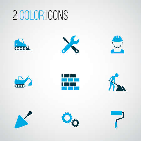 Building icons colored set with excavator, wall painter, cogwheel and other putty knife   elements. Isolated vector illustration building icons.