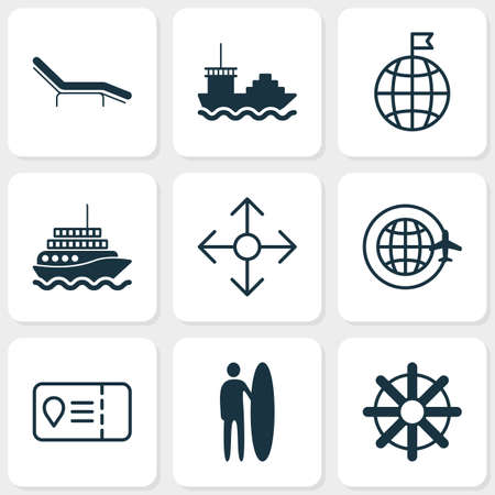 Tourism icons set with tanker, motor ship, beach chair and other yacht   elements. Isolated vector illustration tourism icons.