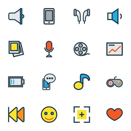 Music icons colored line set with emoji, previous, microphone and other volume down