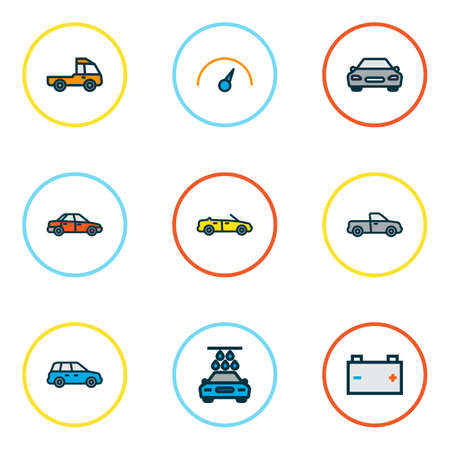Automobile icons colored line set with car, speedometer, battery and other auto    elements. Isolated  illustration automobile icons.