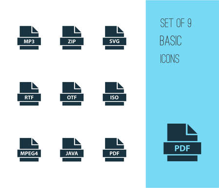 File icons set with pdf, iso, document and other svg   elements. Isolated vector illustration file icons.