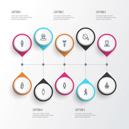 Person icons line style set with walking, happiness, client and other worker elements. Isolated vector illustration person icons. 일러스트