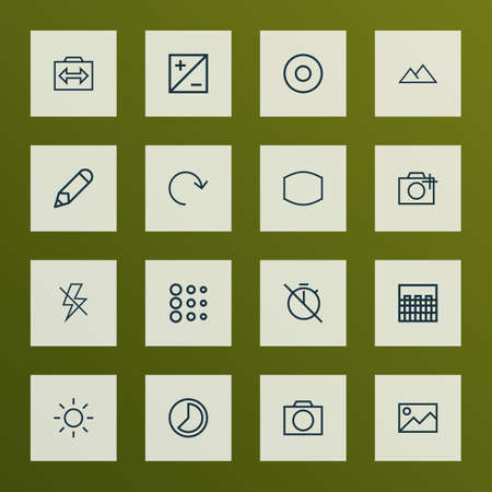 Image icons line style set with filtration, photography, pen and other flash off elements. Isolated vector illustration image icons.