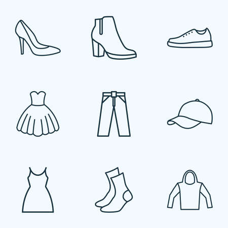 Garment icons line style set with dress, female boots, heels and other sweatshirt elements. Isolated vector illustration garment icons.