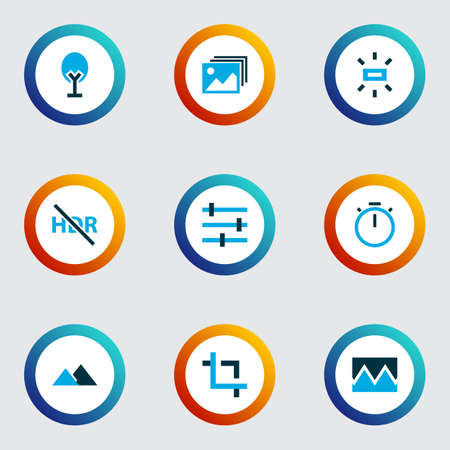 Photo icons colored set with high dynamic range, tune, filter and other center focus elements. Isolated vector illustration photo icons.