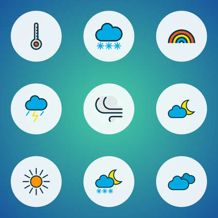 Air icons colored line set with freeze, twilight, moonbeam and other rainbow elements. Isolated illustration air icons.