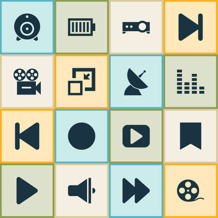 Media icons set with audio mixer, communication antenna, end and other play elements. Isolated illustration media icons.