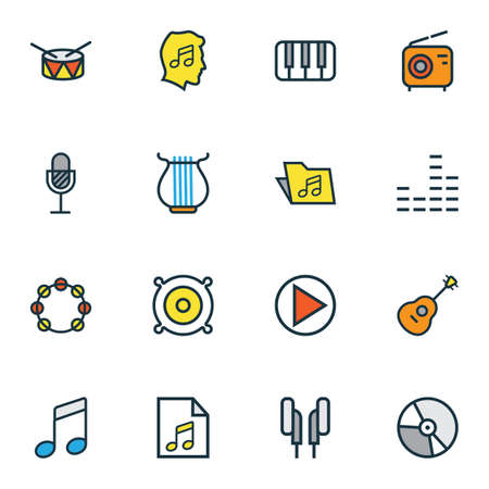 Multimedia icons colored line set with speaker, strings, vinyl and other mixer elements. Isolated vector illustration multimedia icons.