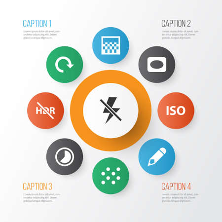 Picture icons set with vignette, pattern, flash off and other hdr off elements. Isolated vector illustration picture icons.