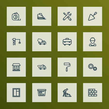 Industry icons line style set with glass frame, lifting hook, spatula and other construction works