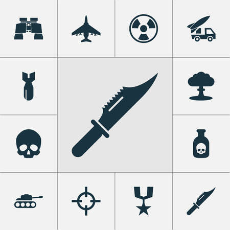Battle icons set with poison, bomb, artillery and other atom