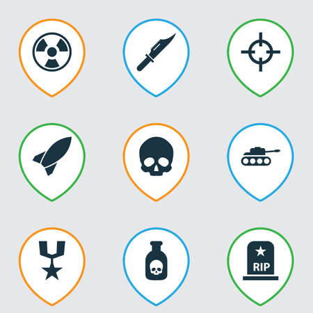 Warfare icons set with poison, medal, rocket and other missile