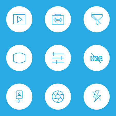 Photo icons line style set with hdr off, monitor, multimedia and other switch cam  elements. Isolated  illustration photo icons.