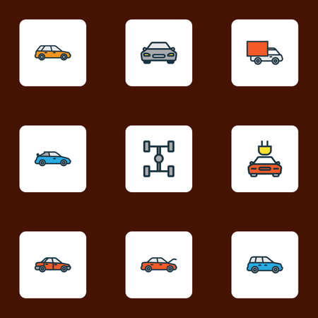 Auto icons colored line set with sport, car, crossover and other electric elements. Isolated vector illustration auto icons.