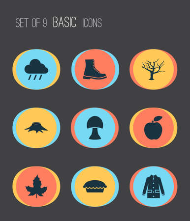 Autumn icons set with maple, boot, rain and other champignon elements. Isolated vector illustration autumn icons.