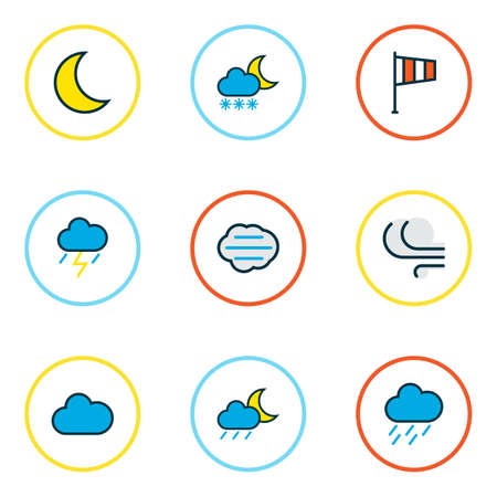 Climate icons colored line set with midnight, windy, clouded and other freeze elements. Isolated  illustration climate icons. Stock Photo