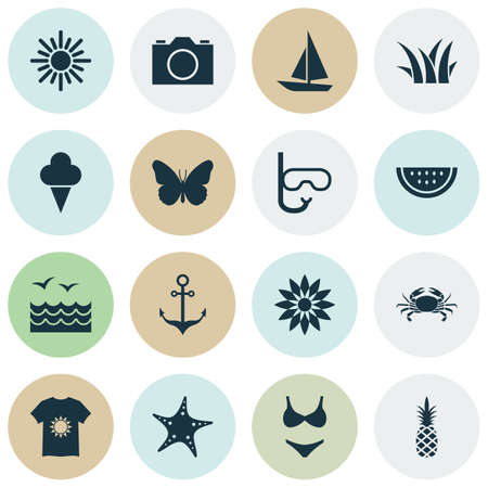 Season icons set with grass, swimsuits, starfish and other elements. Isolated vector illustration season icons.