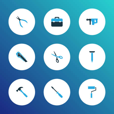 Repair icons colored set with electric instrument, clamp, nail and other bolt elements. Isolated vector illustration repair icons. Ilustração