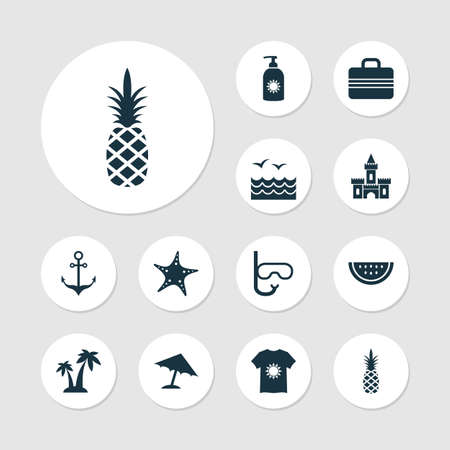 Summer icons set with swimming mask, starfish, sea and other elements. Isolated vector illustration summer icons. Illustration