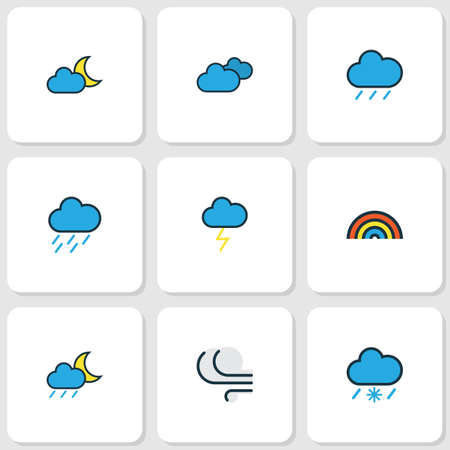 Air icons colored line set with raindrop, nimbus, moonbeam and other rainbow elements. Isolated vector illustration air icons.