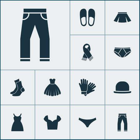 Dress icons set with blouse, dress, fedora and other sarafan elements. Isolated  illustration dress icons. Stock Photo