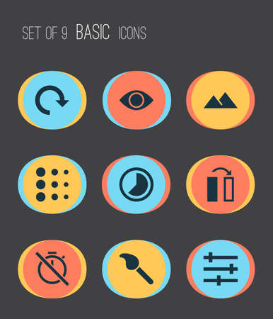 Picture icons set with flip, blur, filter and other no timer elements. Isolated vector illustration picture icons.