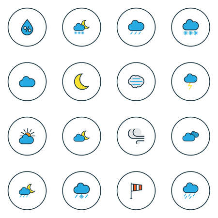 Climate icons colored line set with freeze, thunderstroke, percent and other cloudburst elements. Isolated vector illustration climate icons. Illustration