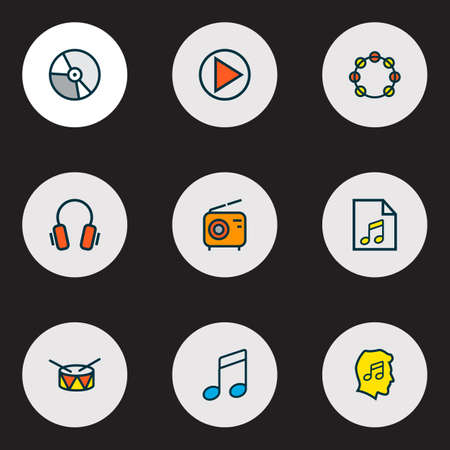 Audio icons colored line set with drum, vinyl, soundtrack and other circle  elements. Isolated vector illustration audio icons. Illustration