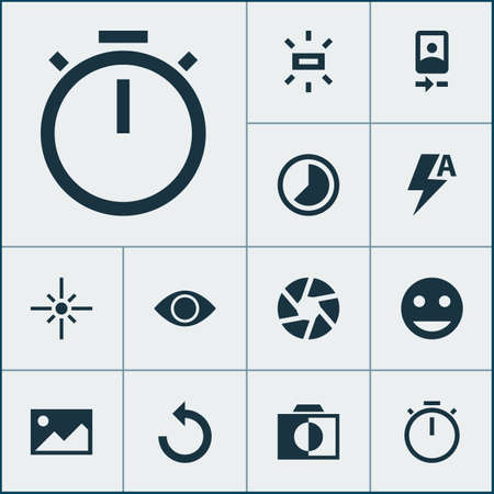 Photo icons set with reload, image, tag face and other chronometer