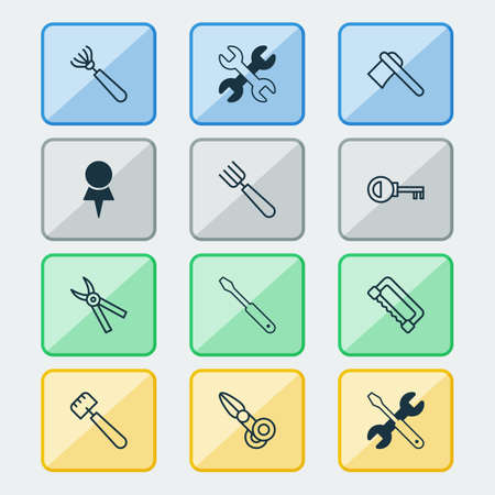 Equipment icons set with scissors, trowel, destination and other password  elements. Isolated vector illustration equipment icons.