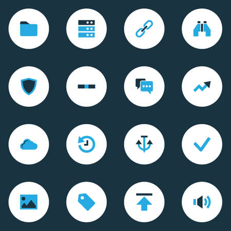 Interface icons colored set with download, folder, protect and other minus