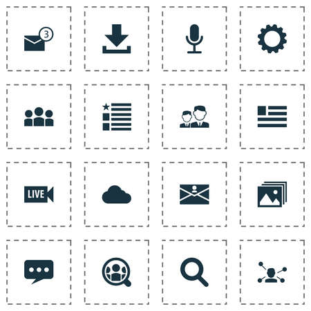 Internet icons set with group, download, live video and other magnifier