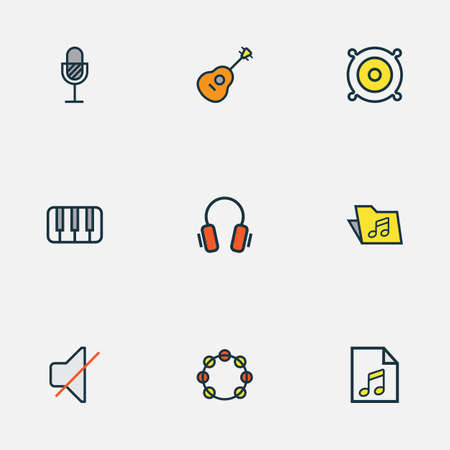 Music icons colored line set with soundtrack, off, microphone and other strings   elements. Isolated  illustration music icons. 写真素材