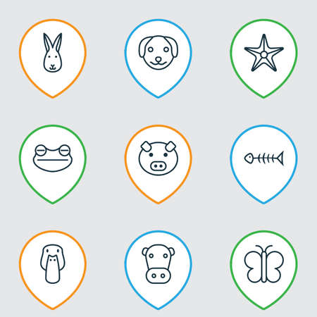 Animal icons set with dog, frog, pig and other kine   elements. Isolated vector illustration animal icons.
