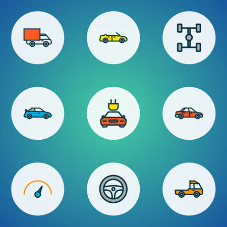 Automobile icons colored line set with sport, sedan, cabriolet and other rudder   elements. Isolated vector illustration automobile icons.