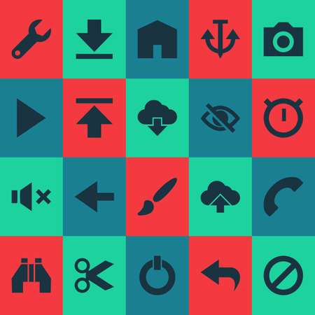 User icons set with find, play, ban and other button   elements. Isolated vector illustration user icons.